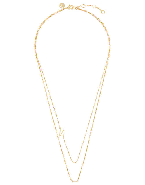 Gold-Plated Double Chain Initial Necklace - N, , large