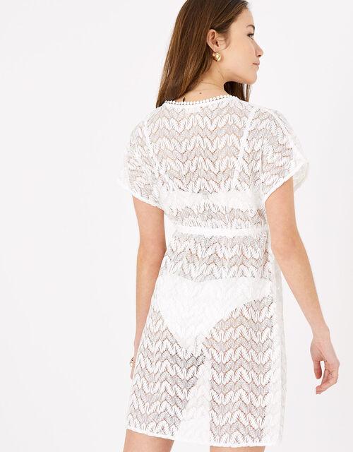 Floral Lace Kaftan Dress, White (WHITE), large