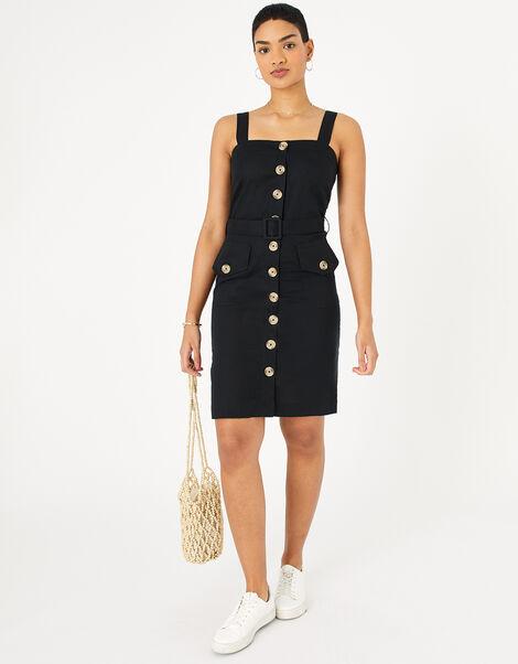 Button-Down Midi Dress in Linen Blend Black, Black (BLACK), large