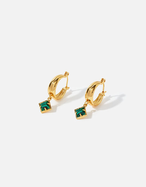 Gold-Plated Malachite Charm Hoops, , large
