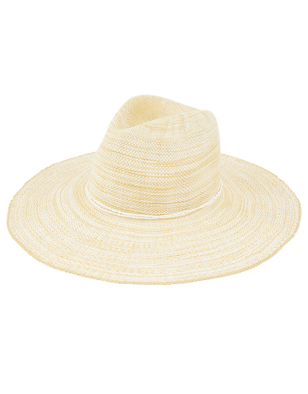 Simple Weave Wide Brim Fedora Hat, Natural (NATURAL), large