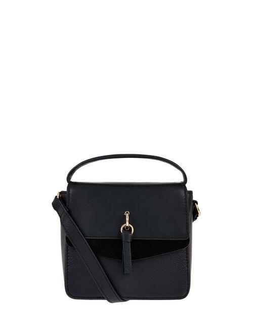 Lula Mini Flap Leather Cross-Body Bag, Black (BLACK), large