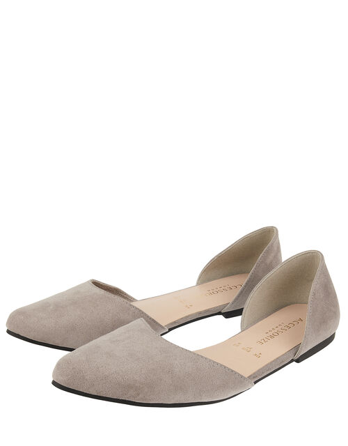 Two-Part Point Toe Flat Shoes, Grey (GREY), large