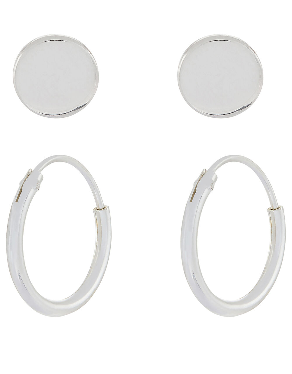 Sterling Silver Stud and Mini Hoop Set, , large