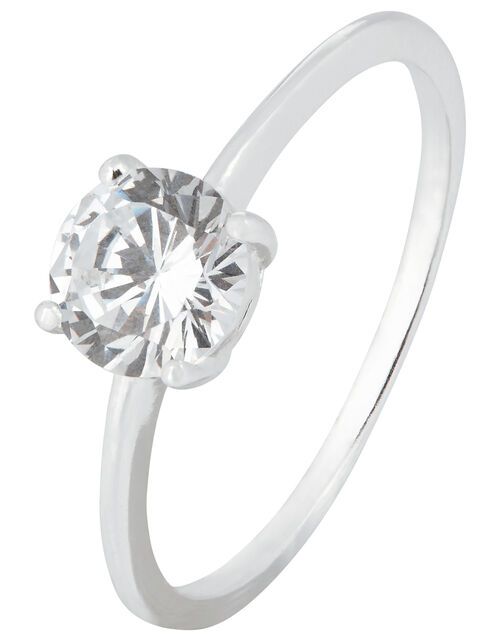 Sterling Silver Round Solitaire Ring, White (ST CRYSTAL), large