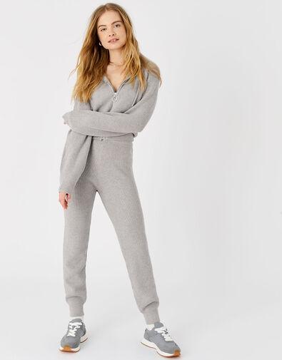 Rib Knit Lounge Joggers Grey, Grey (LIGHT GREY), large