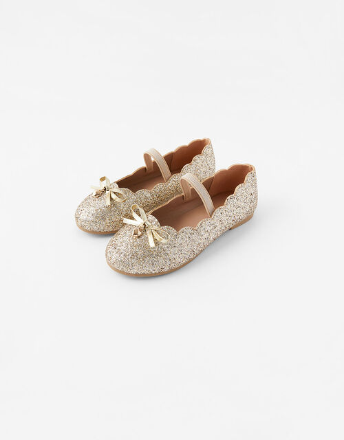 Scalloped Ballerina Flats, Gold (GOLD), large