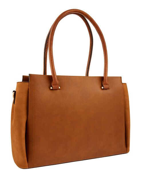 Morgan Vegan Work Tote Bag, Tan (TAN), large