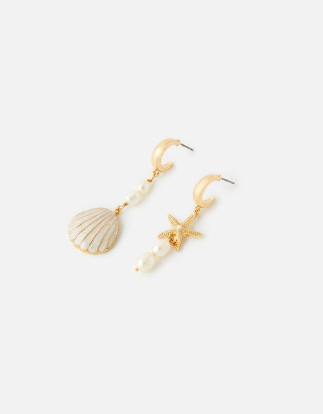 Pearl and Shell Mismatched Earrings, , large