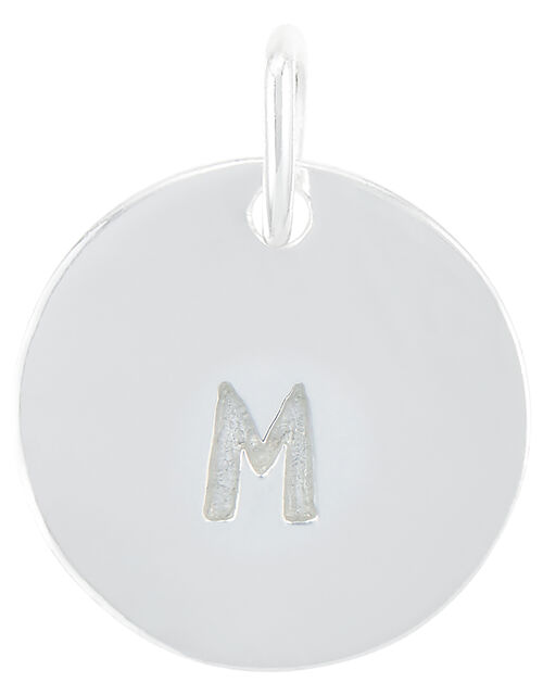 Sterling Silver M Initial Charm, , large