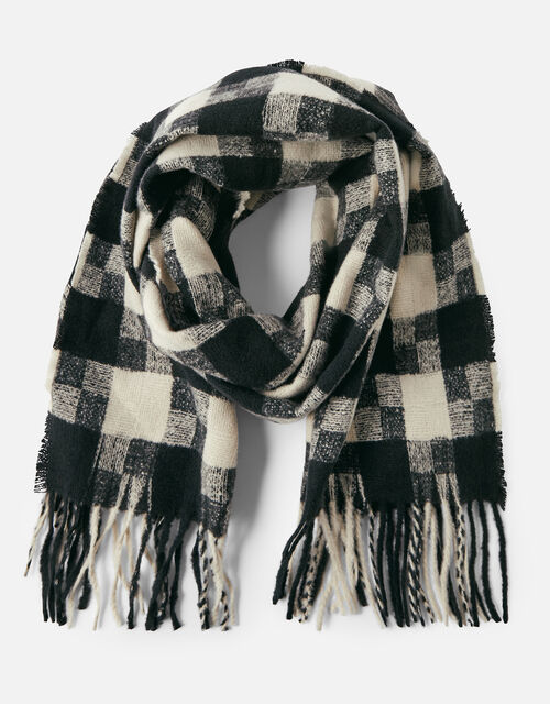 Luna Monochrome Check Blanket Scarf, , large