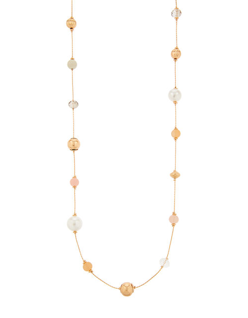 Pearl and Bead Rope Necklace, , large