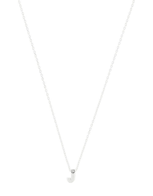Sterling Silver Sparkle Initial Necklace - J, , large