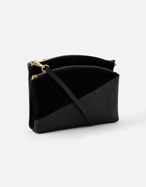 Darcey Leather Double Zip Cross-Body Bag, Black (BLACK), large