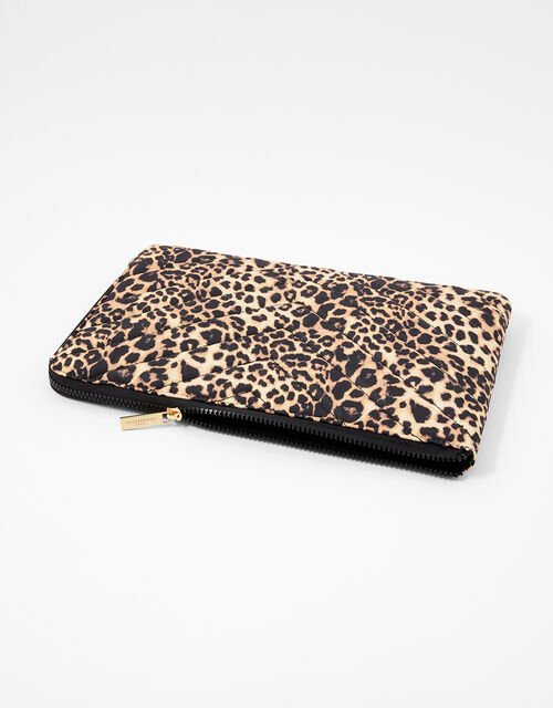Quilted Nylon Laptop Case, Leopard (LEOPARD), large