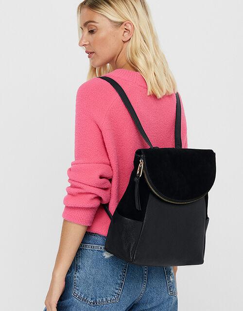 Isabel Zip Flap Leather Backpack, Black (BLACK), large