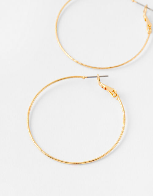 Fine Facet Hoop Earrings, Gold (GOLD), large