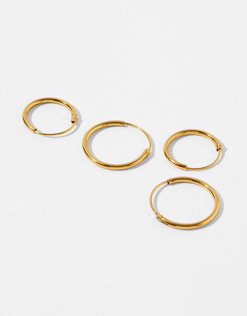 Gold-Plated Mini Sleeper Hoop Earring Set, , large