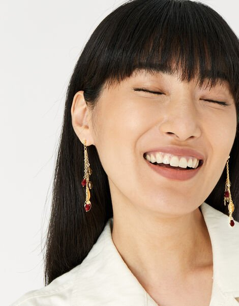 Berry Blush Long Beaded Earrings, , large