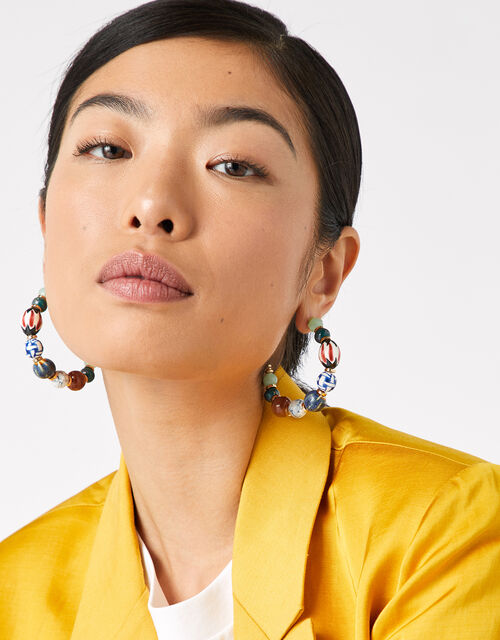 Cassie Ceramic Bead Hoop Earrings, , large