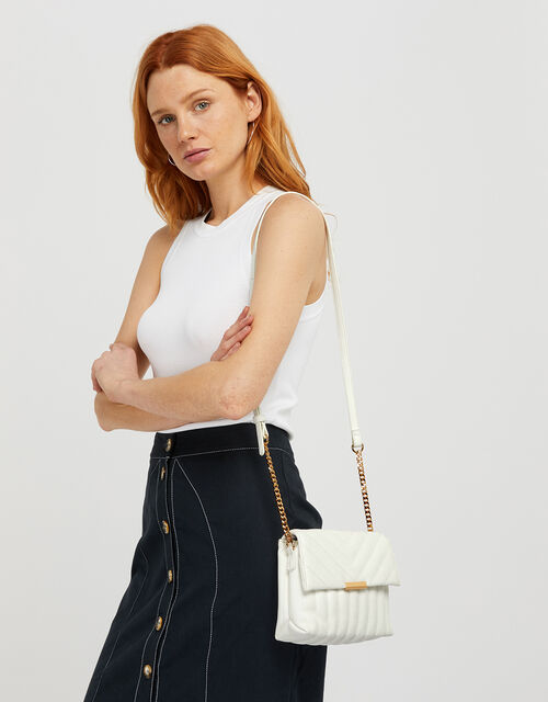 Chantelle Quilted Cross-Body Bag, White (WHITE), large