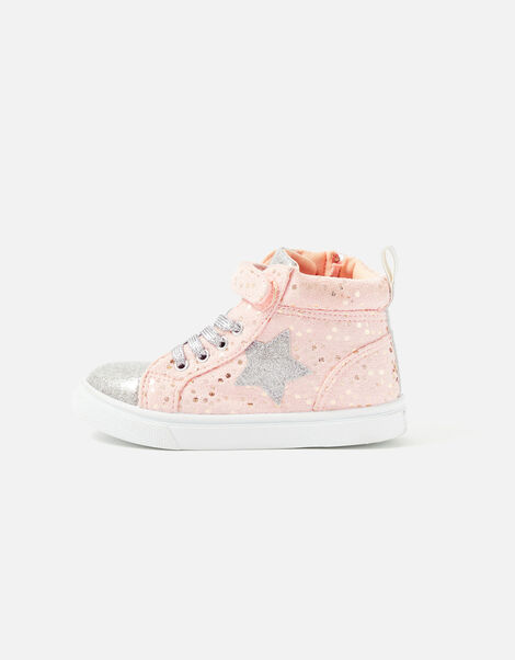 Girls Star High-Top Trainers Pink, Pink (PINK), large