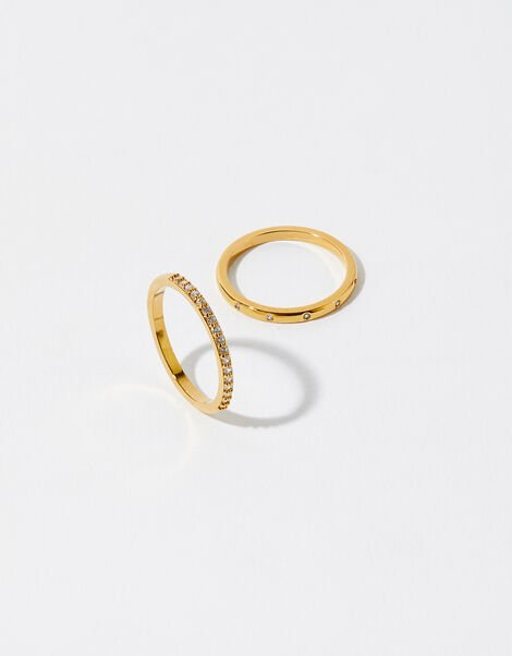 Gold-Plated Pave Ring Set Gold, Gold (GOLD), large