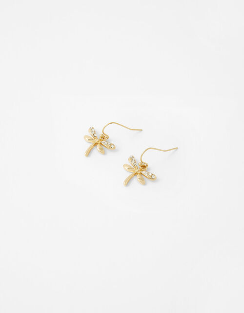 Sparkle Dragonfly Short Drop Earrings, , large