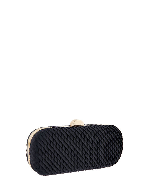 Bella Pleated Hardcase Clutch Bag, Blue (NAVY), large