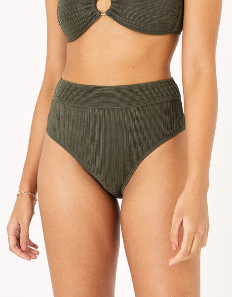 High Waist Bikini Briefs Green, Green (KHAKI), large