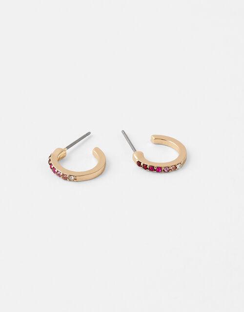 Crystal Huggie Hoop Earrings, Pink (PINK), large