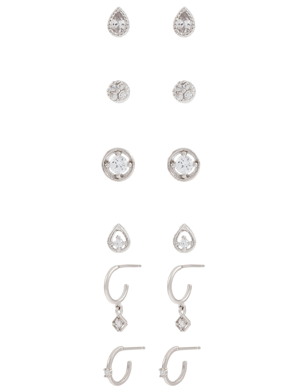 Platinum-Plated Sparkle Earring Multipack, , large