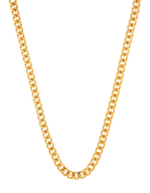 Gold-Plated Chunky Curb Chain Necklace, , large