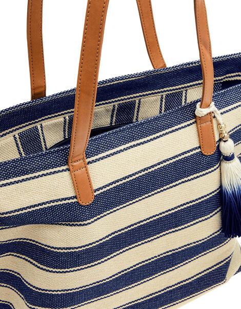 Nautical Stripe Beach Tote Bag, , large