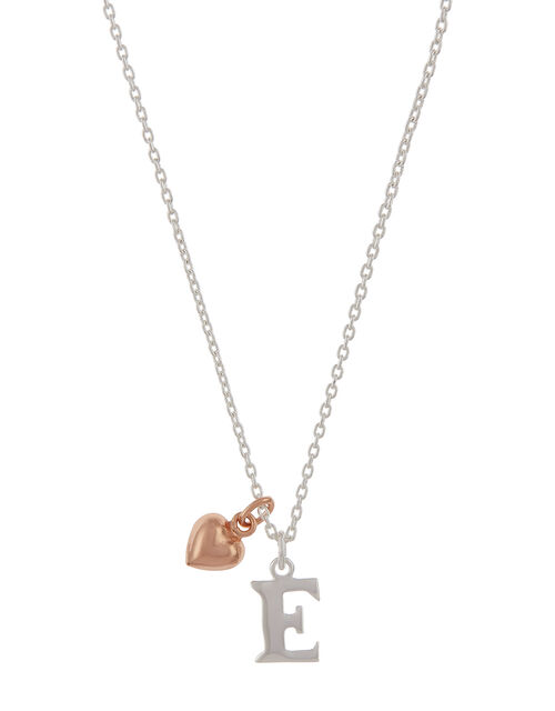Sterling Silver Initial Necklace with Heart Charm - E, , large