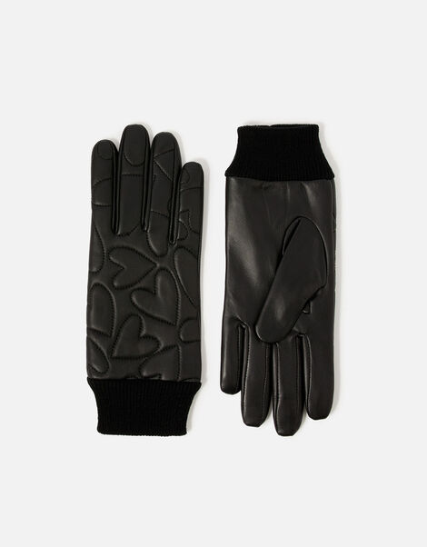 Heart Embossed Leather Gloves Black, Black (BLACK), large