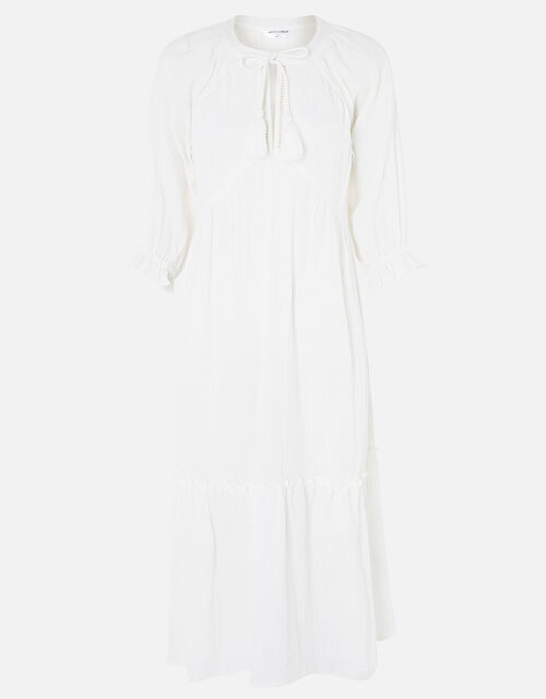 Crinkle Tiered Maxi Dress in Pure Cotton, White (WHITE), large