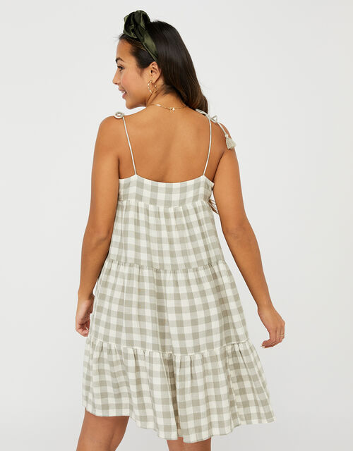 Gingham Strappy Sun Dress, Green (GREEN), large