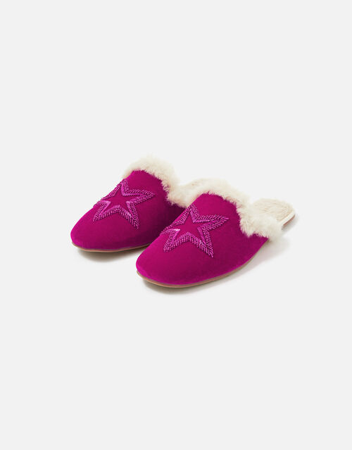 Embellished Star Velvet Slippers, Pink (PINK), large