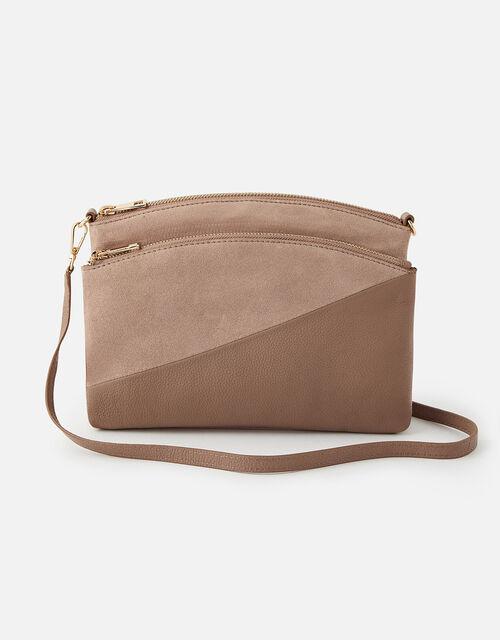 Darcey Leather Double Zip Cross-Body Bag, Nude (NUDE), large