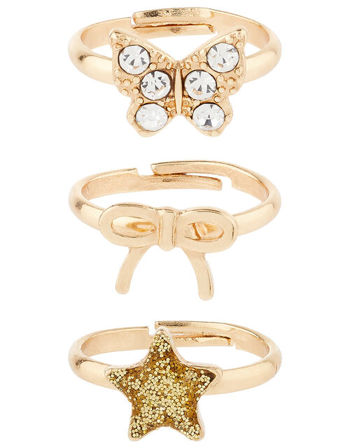 Butterfly, Star and Bow Ring Set, , large