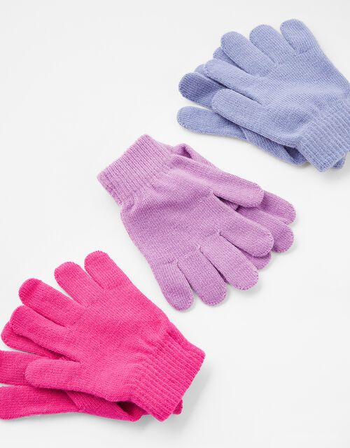 Plain Knit Gloves Multipack, Multi (BRIGHTS-MULTI), large