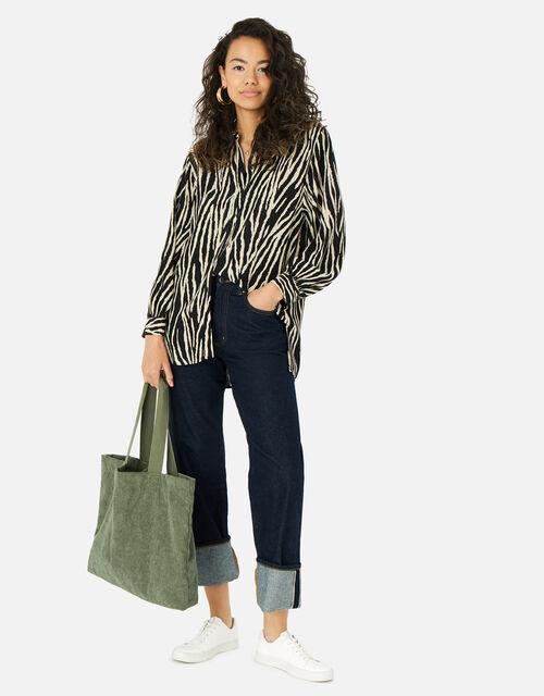 Cord Shopper Bag, Green (KHAKI), large