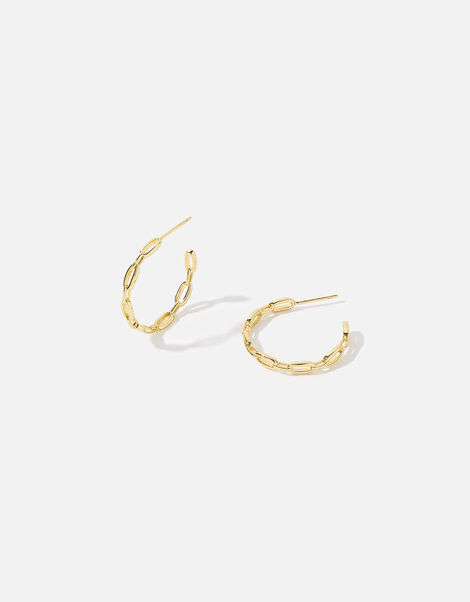 Gold-Plated Chain Hoops, , large