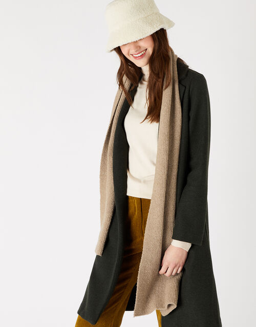 Plain Knit Scarf in Wool Blend, Camel (CAMEL), large