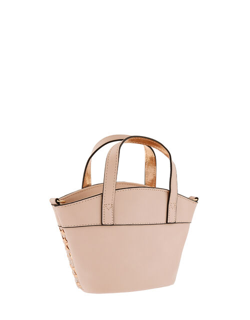 Mini Bucket Bag with Woven Metallic Panel, , large