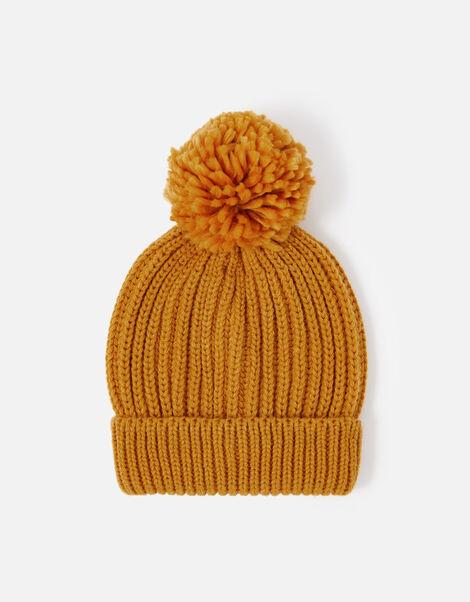 Chunky Knit Pom-Pom Beanie Hat Yellow, Yellow (OCHRE), large