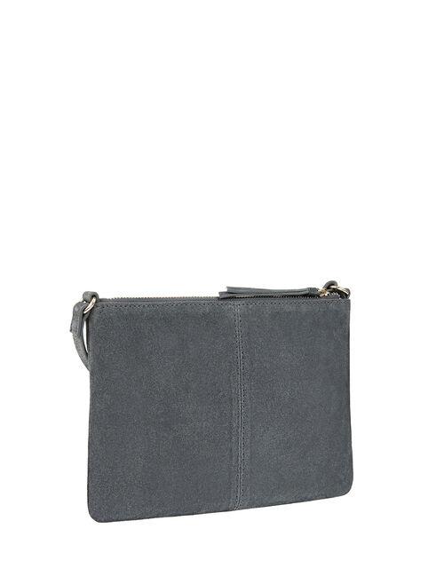 Suede Cross-Body Bag, Grey (GREY), large