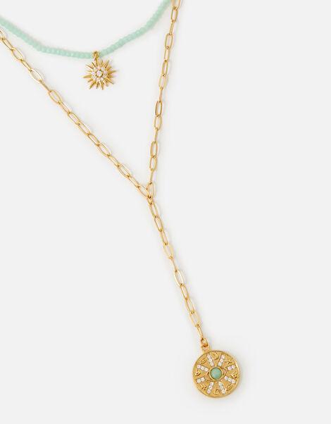 Celestial Layered Lariat Pendant Necklace , , large