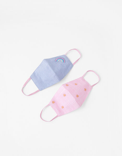 Girls Embroidered Face Covering Set in Pure Cotton, , large